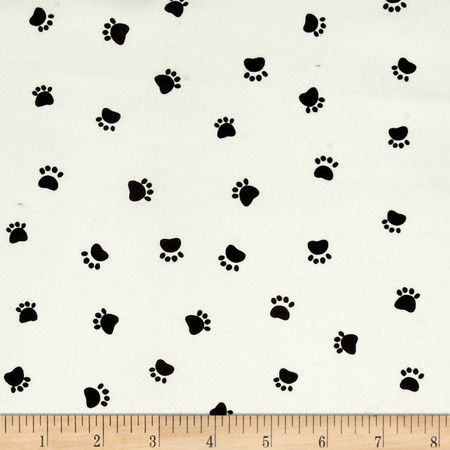 Dog's World Paw Prints Cream Fabric By The Yard