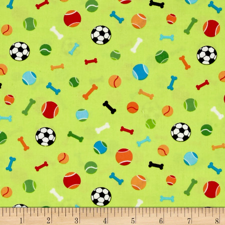 Dog's World Toys Green Fabric By The Yard