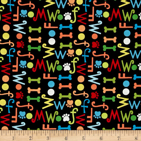 Dog's World Words Black Fabric By The Yard