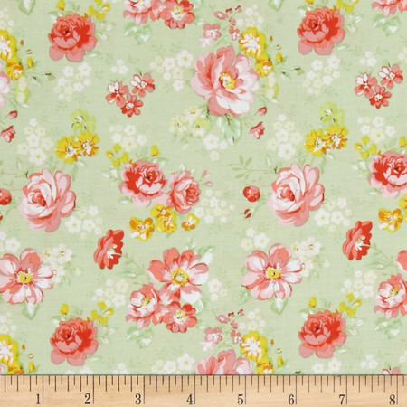 Doo Dads  Calico Green Fabric By The Yard