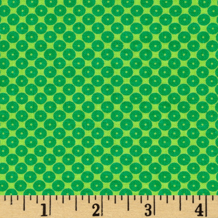 Dots Right Sequin Dot Green Fabric