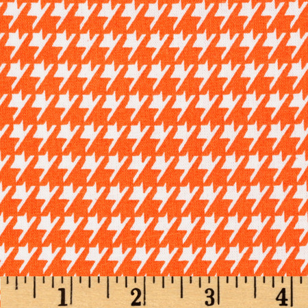 Dots and More Houndstooth Orange/White Fabric By The Yard