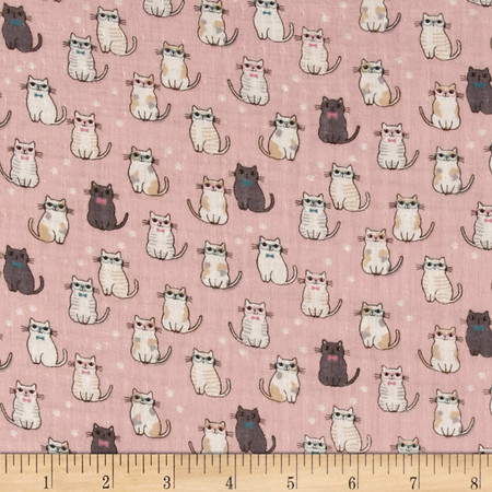 Double Gauze Little Kitties Pink Fabric