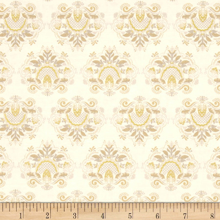 Downton Abbey Celebrations Metallic Applique Gold Fabric By The Yard
