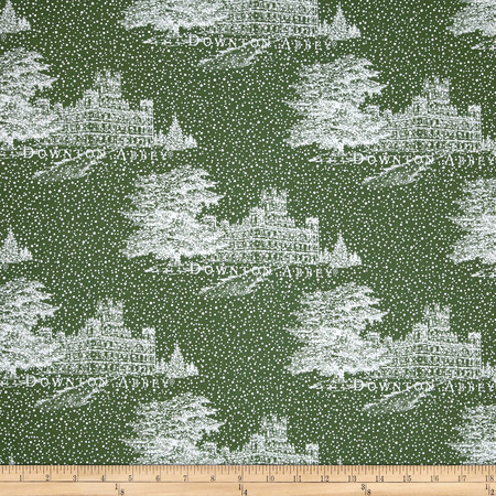 Downton Abbey Christmas Metallic Castle Green Fabric By The Yard