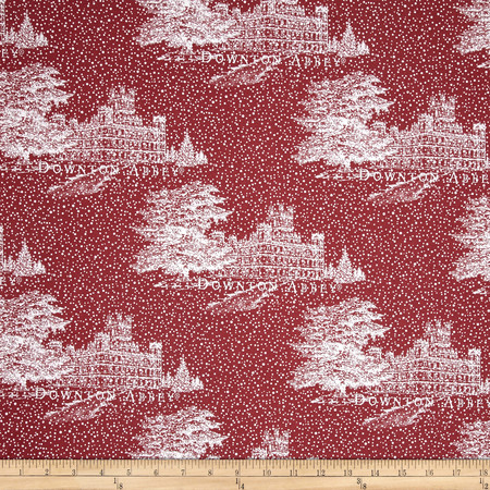 Downton Abbey Christmas Metallic Castle Red Fabric