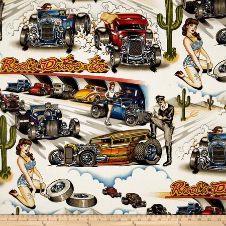Drag Race Cars Multi Fabric