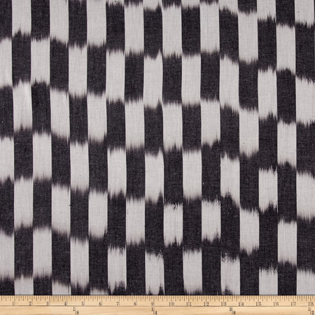 Dream Weaves Woven Ikat Check Grey Fabric By The Yard