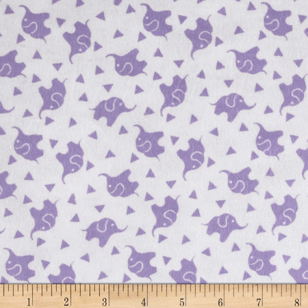 Dreamland Flannel Elephant Confetti White/Lavender Lily Fabric By The Yard