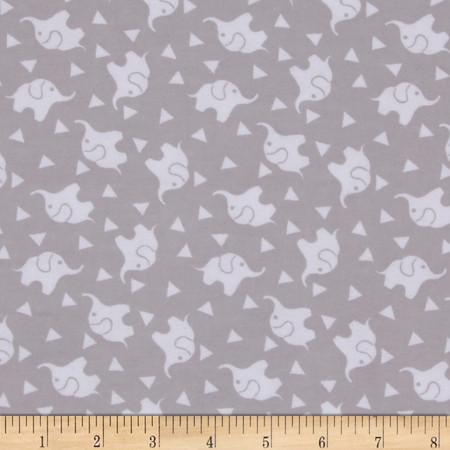 Dreamland Flannel Elephant Confetti  Jasper Grey Fabric