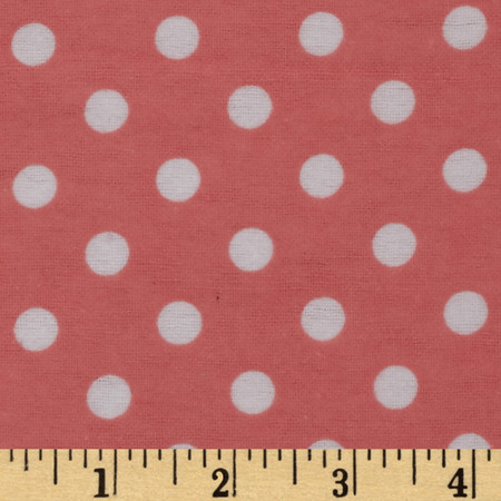 Dreamland Flannel Happy Dots Coral Blossom Fabric By The Yard