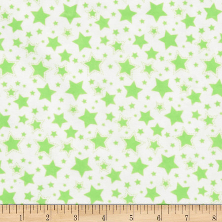 Dreamland Flannel Starry Night White/Green Apple Fabric By The Yard