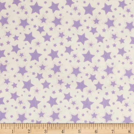 Dreamland Flannel Starry Night White/Lavender Lily Fabric By The Yard