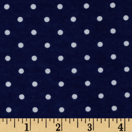 Dreamland Flannel Swiss Dots Navy Skies Fabric