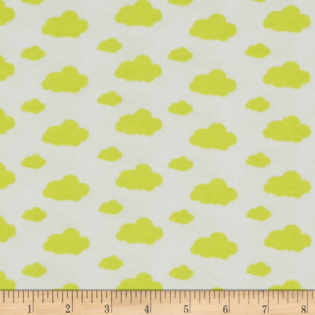 Dreamy Clouds Flannel White/Sunshine Yellow Fabric By The Yard