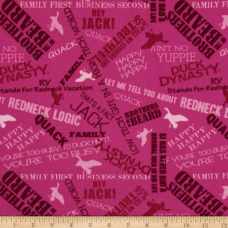 Duck Dynasty Sayings Pink Fabric By The Yard