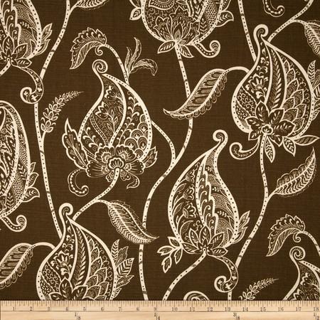 Duralee Foliage Stripe Vintage Brown Fabric