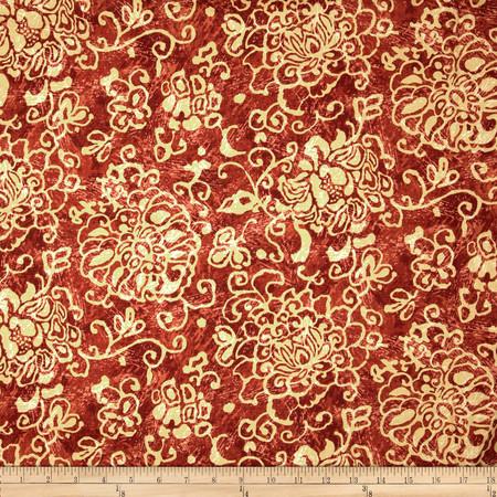 Duralee Garden Distress Russet Red Fabric