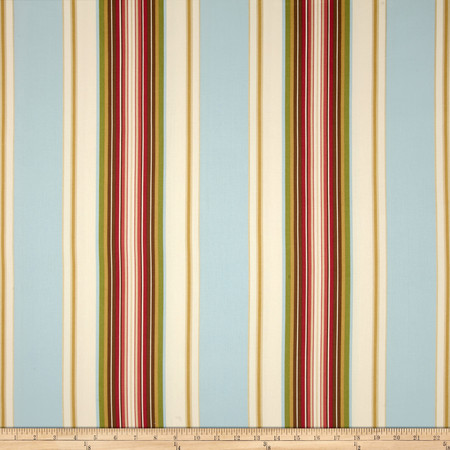 Duralee Home Claires Stripe II Twill Natural/Blue Fabric By The Yard