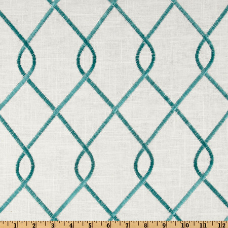 Duralee Home Embroidered Rico Aqua Fabric By The Yard