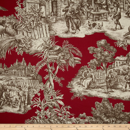 Duralee Home Ernest Toile Red Fabric