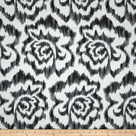 Duralee Jacklyn Floral Ikat Blend Black Fabric