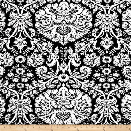 Duralee Kayla Damask Jacquard Black/White Fabric