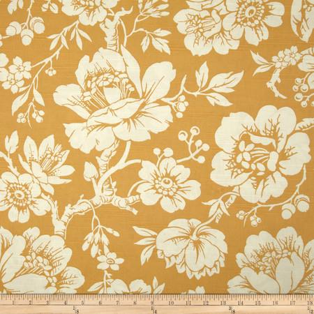 Duralee Lindley Floral Slub Peach Fabric By The Yard