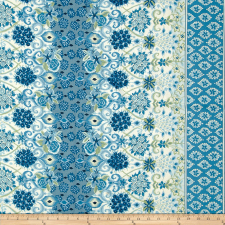 Duralee Robby Floral Stripe Lapis Fabric