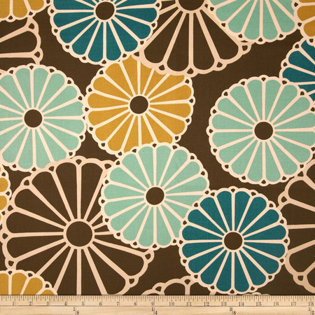 Duralee Whimsy Flower Blend Turquose/Chocolate Fabric