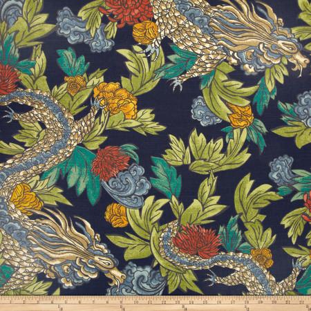 Dwell Studio Ming Dragon Admiral Fabric By The Yard