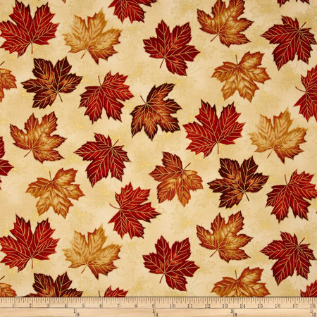 East Grove Metallic Tossed Leaves Cream Fabric