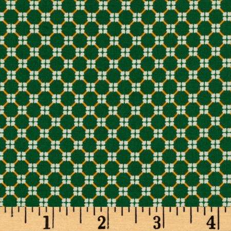 El Camino Polka Dots Green/Gold Fabric