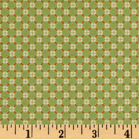El Camino Real Pattern Wallpaper Diamonds Green/Orange Fabric