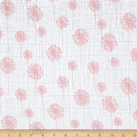 Embrace Double Gauze Dandelion Coral Fabric By The Yard