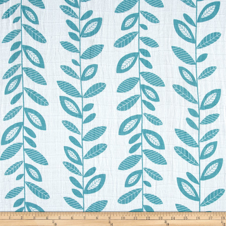Embrace Double Gauze Stem to Stem Teal Fabric By The Yard