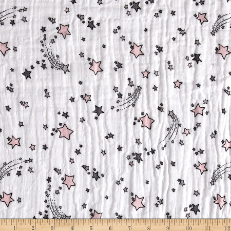 Embrace Double Gauze Sweet Melody Designs Shooting Star Blush Fabric By The Yard