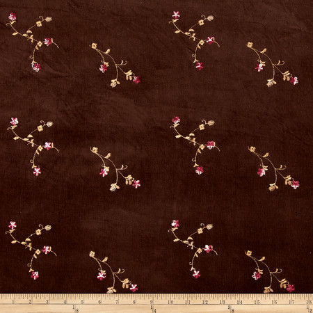 Embroidered Corduroy Brown Fabric
