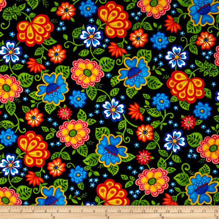 Emily's Artful Days Euro Floral Black Fabric