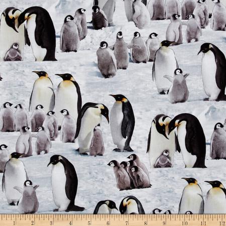 Emperor Penguins Snow Fabric