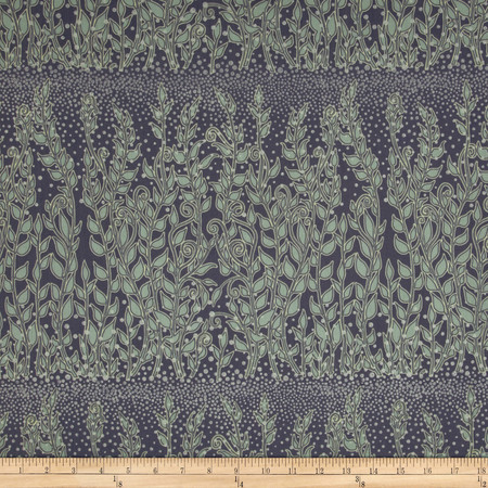 Enchantment Metallics Large Vines Grey/Blue Fabric