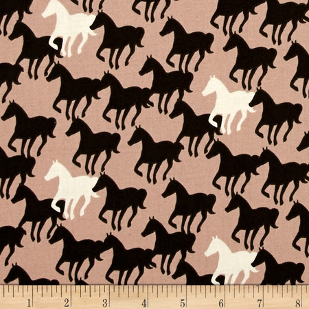 Equestrian Horse Silhouettes Brown Sugar Fabric By The Yard