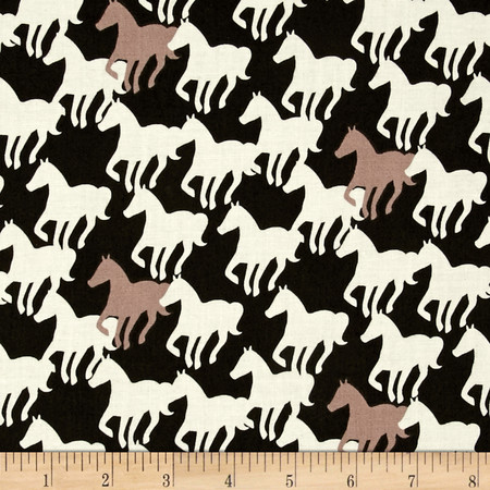 Equestrian Horse Silhouettes Carbon Fabric By The Yard