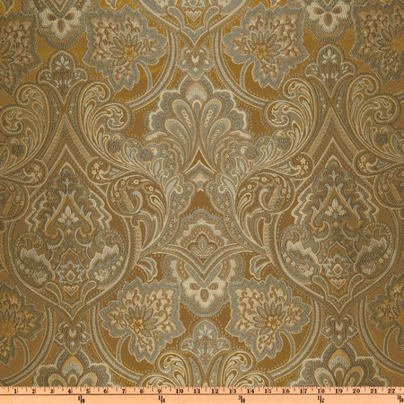 Eroica Hollyhock Damask Jacquard Cappuccino Fabric By The Yard