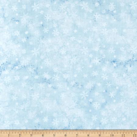 Eskimo Snow Snowflake Light Blue Fabric By The Yard