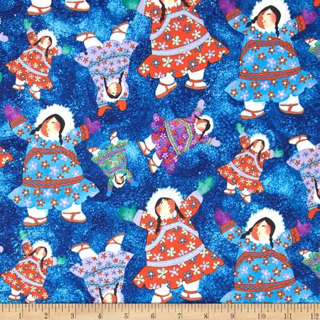 Eskimo Snow Tossed Eskimos Dark Blue Fabric