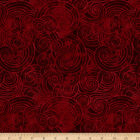 Essential Dotty Waves 108'' Wide Quilt Back Red Fabric By The Yard