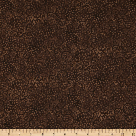 Essentials 108'' Wide Quilt Back Leafy Scroll Brown Fabric By The Yard