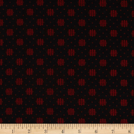 Essentials 10 Woven Dot Black/Red Fabric