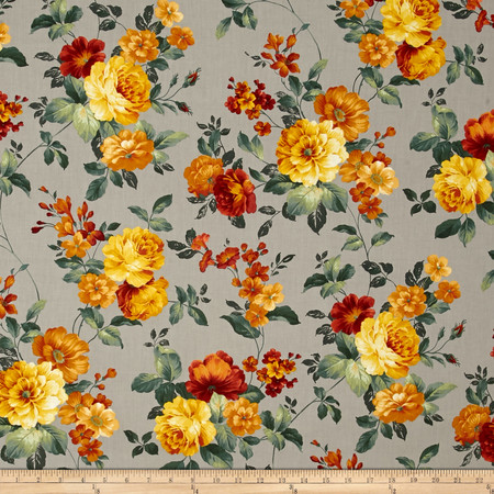 Estate Gardens Large Rose Floral Taupe Fabric